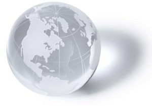 Glass globe representing marketing global reach