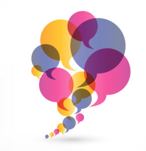Speech bubbles representing client testimonials