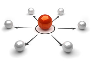 Ball linked by arrows illustrating the connections of marketing consultants in Berkshire