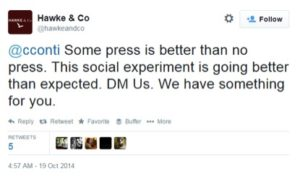 Screen grab of twitter feed: Hawke & Co call the exchange a social experiment