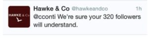 Screen grab of twitter feed: Hawke & Co dismiss followers