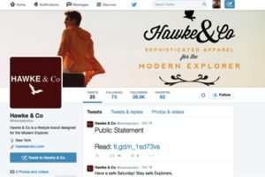 Screen grab of Twitter feed: Hawke & Co tersely point followers to the public apology