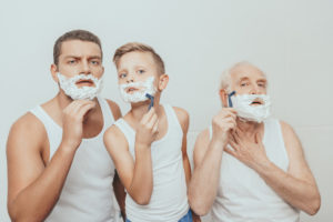 Three generations of shavers